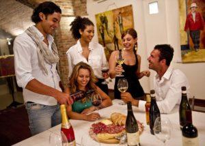 people tasting wines in the tasting room of monte del frà
