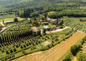 Aerial View Of Vineyard And Tenuta Di Trecciano Winery