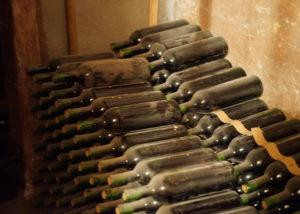 viña el cerno old bottles with amazing wine in the cellar
