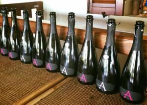 A Display of Ancilla Azienda Agricola La Ghidina Wine Bottles