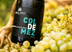 a bottle of wine in grapes at Cantina Colli Del Soligo