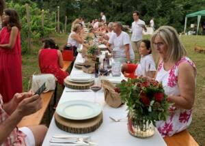 guest having food and wine at Tenuta Valdomini S.Agricola