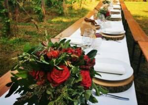 a table prepared for an event at Tenuta Valdomini S.Agricola