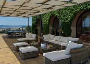 patio at Castello del Terriccio