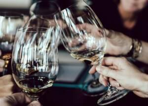 Wine glasses during tasting at Crystal Basin Cellars