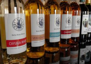 bottles of wine by delta blues winery lined up