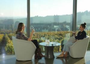 Two people tasting wine at Furioso Vineyards