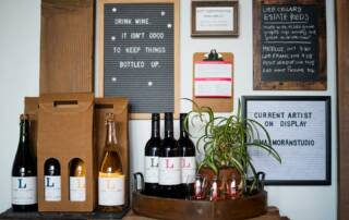 bottles of wine by lieb cellars displayed at the office