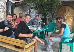 Visitors posing at tasting area atRostomaant Marani winery