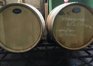 Two Wine Barrels Of The Weinbau Schreiber Winery