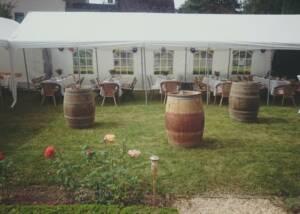 Wine barrels kept in the outdoor area of the Weingut Weckbecker winery