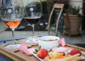 Wine tasting with bowl of fruits at Avinodos