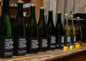 Display of Wijndomein Helshoven Wine Bottles