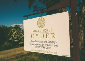 Signboard of Small Acres Cyder
